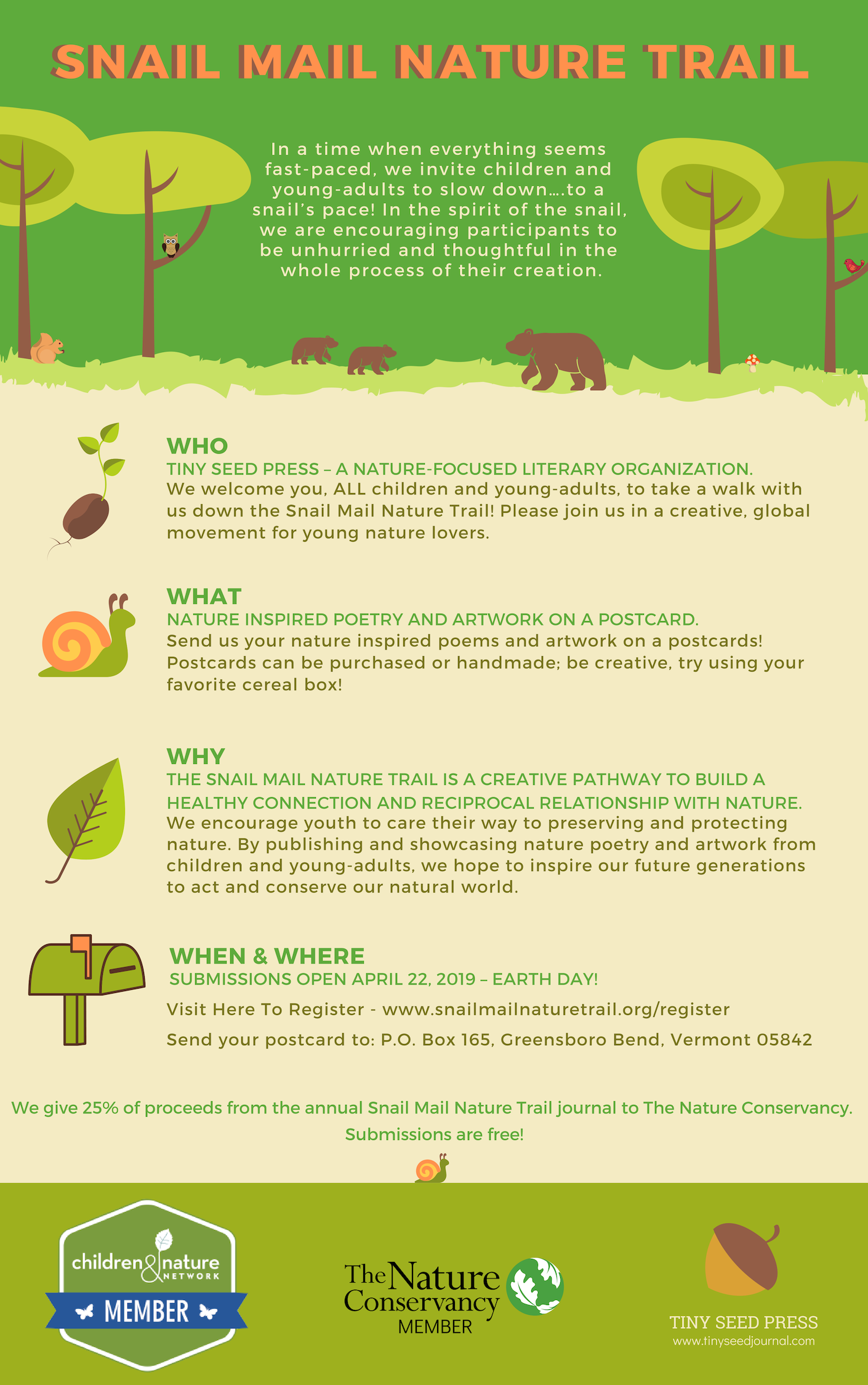 Snail Mail Nature Trail graphic. 444png